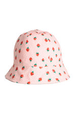 Cotton sun hat - Light pink/Strawberries - Kids | H&M 1